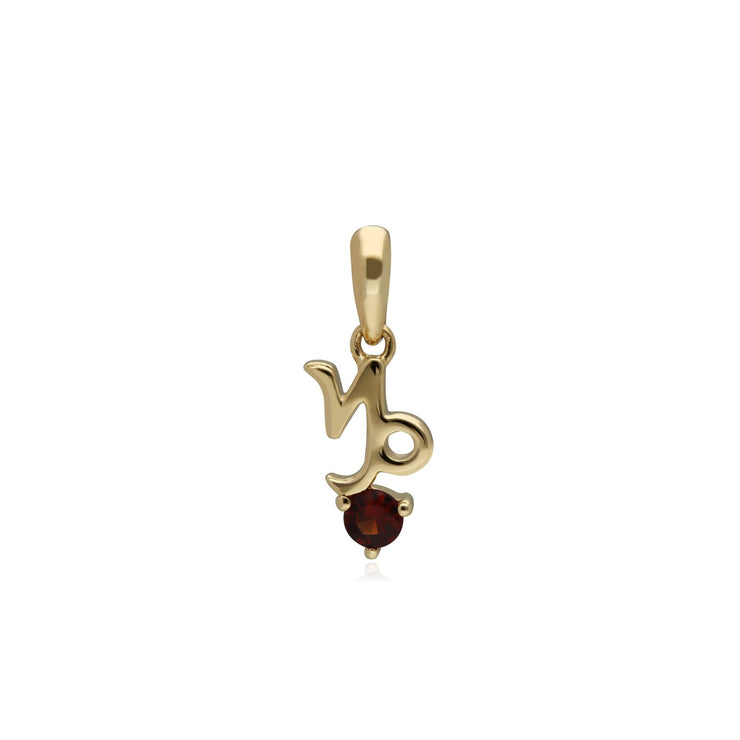 Garnet Capricorn Zodiac Charm in 9ct Yellow Gold