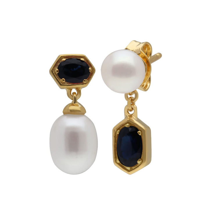 Modern Pearl & Sapphire Mismatched Drop Earrings in Gold Plated Sterling Silver