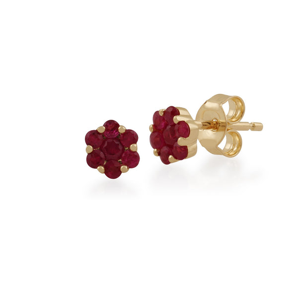 Floral Ruby Cluster Stud Earrings Image 1