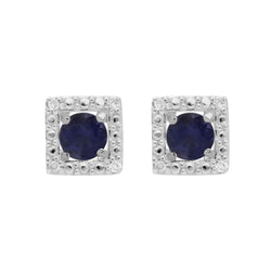 Classic Iolite Stud Earrings & Diamond Square Ear Jacket Image 1