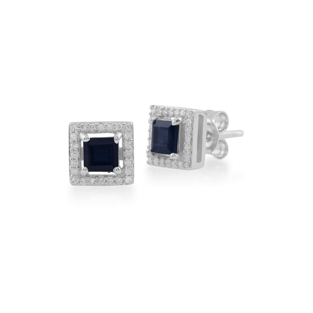 Gemondo 9ct White Gold 0.68ct Sapphire & Diamond Square Stud Earrings Image