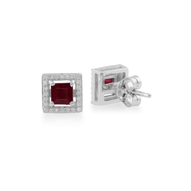 White Gold Ruby & Diamond Stud Earrings Image 2