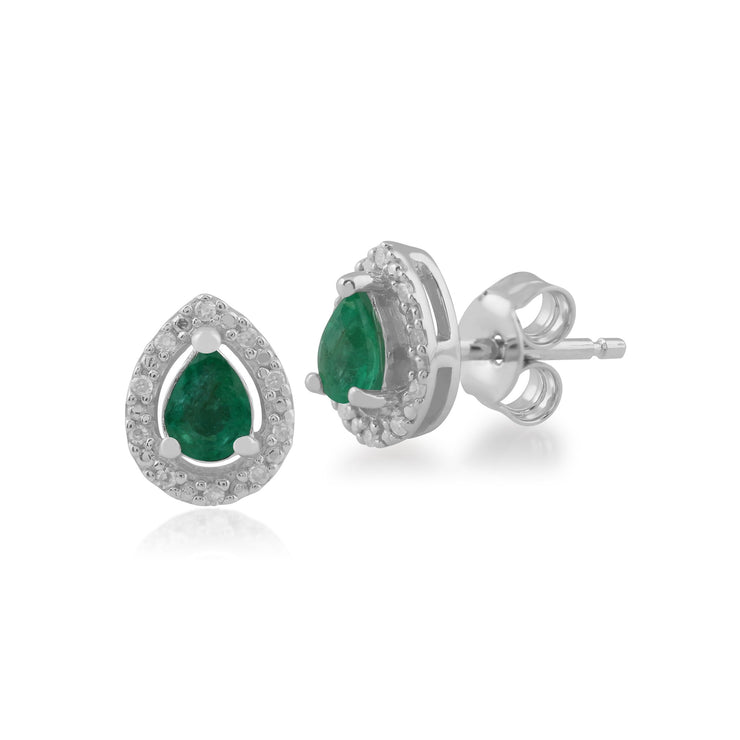 Classic Emerald & Diamond Halo Stud Earrings Image 1