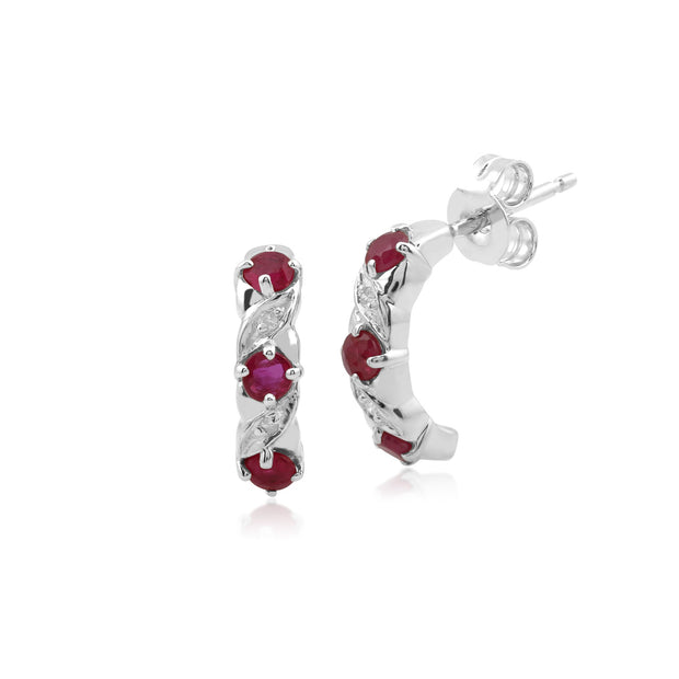Classic Ruby & Diamond Half Hoop Earrings Image 1