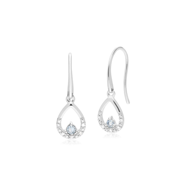 Classic Aquamarine & Diamond Pear Drop Earrings Image 1