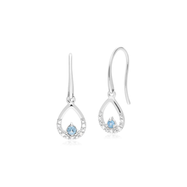 Classic Blue Topaz & Diamond Pear Drop Earrings Image 1