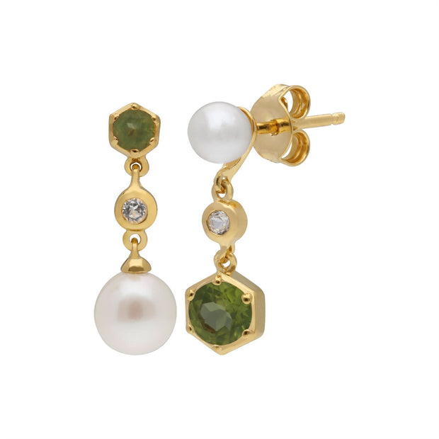Modern Pearl, Peridot & Topaz Mismatched Drop Earrings in Gold Plated Sterling Silver