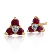 Floral Ruby & Diamond Cluster Stud Earrings Image 1