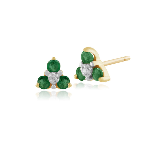 Floral Round Emerald & Diamond Cluster Stud Earrings in 9ct Yellow Gold
