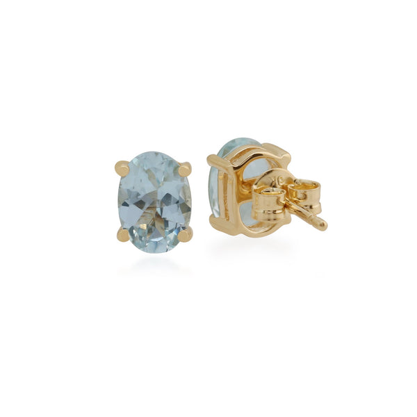 Classic Oval Aquamarine Stud Earrings Image 2