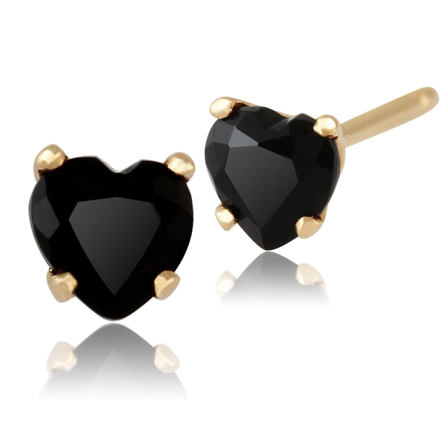 Classic Black Onyx Heart Stud Earrings Image 1