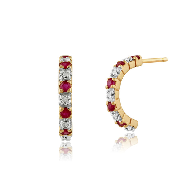 Classic Ruby & Diamond Half Hoop Style Earrings Image 1