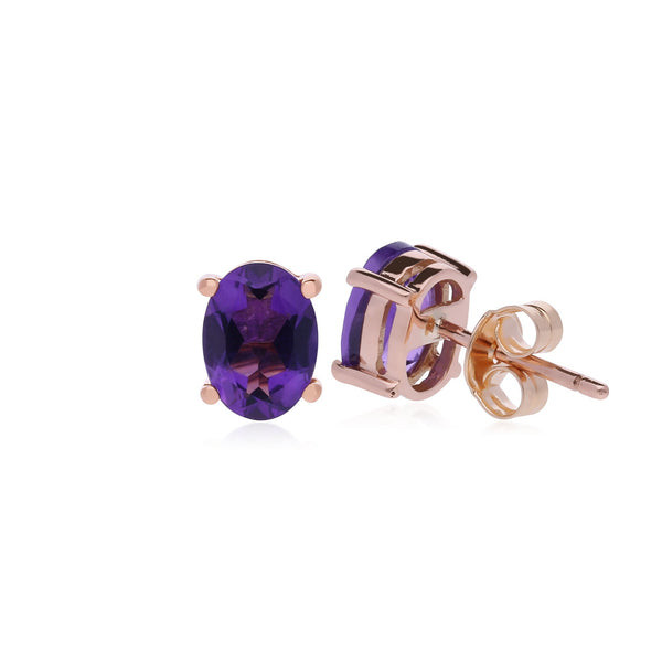 Classic Oval Amethyst Stud Earrings Image 2