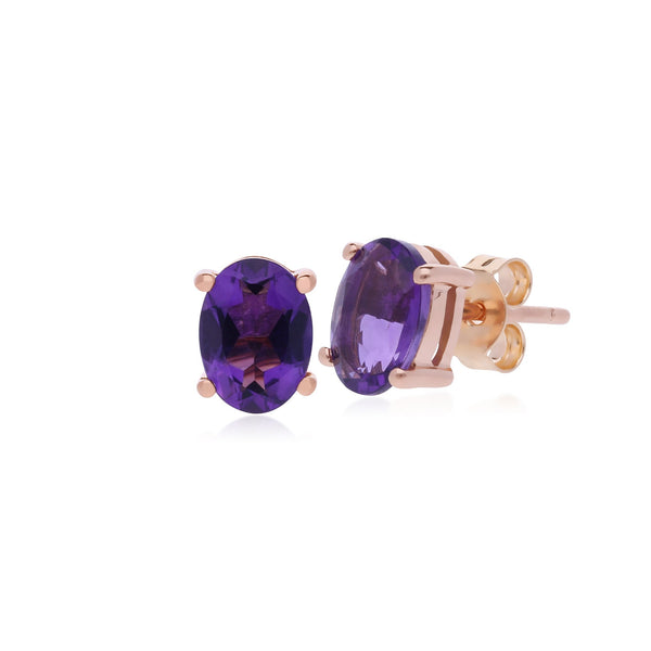 Classic Oval Amethyst Stud Earrings Image 1