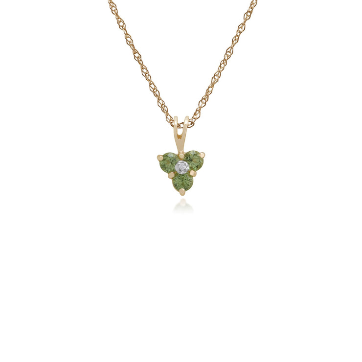 Floral Peridot & Diamond Cluster Pendant Image 1