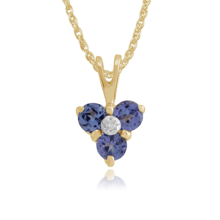 Floral & Tanzanite & Diamond Pendant Image 1