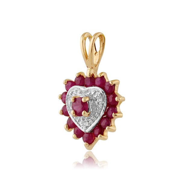 Classic Ruby & Diamond Heart Pendant on Chain Image 2