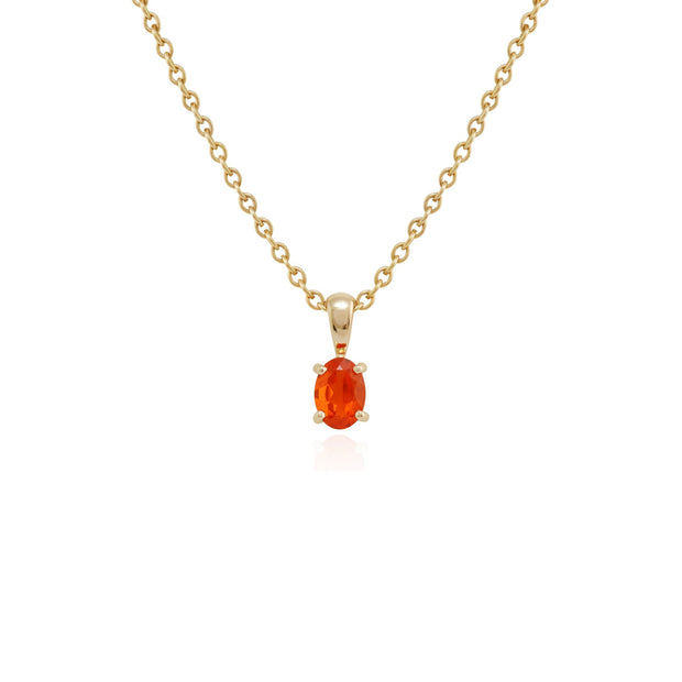 Classic Oval Fire Opal Pendant Image 1