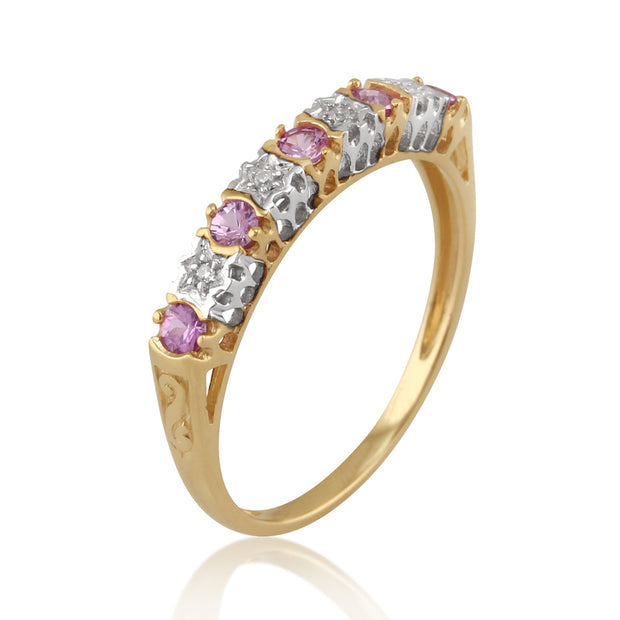 Pink Sapphire and Diamond Eternity Ring Image 2