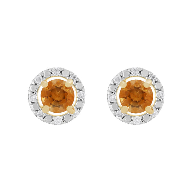 Classic Citrine Stud Earrings & Diamond Round Earrings Jacket Set Image 1