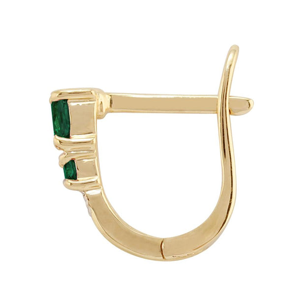 Classic Emerald & Diamond Hoop Earrings Image 2