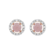 Classic Rose Quartz Stud Earrings & Diamond Round Ear Jacket Image 1