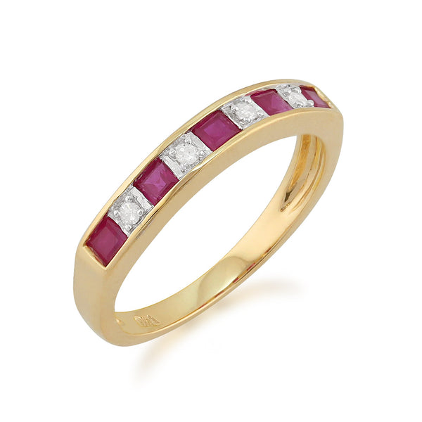 Ruby and Diamond Eternity Ring Image 2