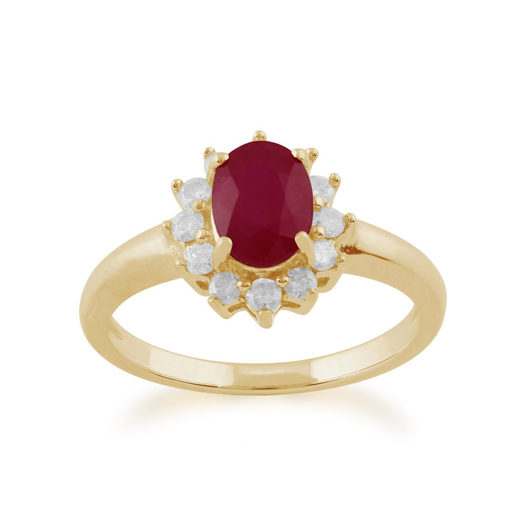 Ruby and Diamond Cluster Ring Image 1