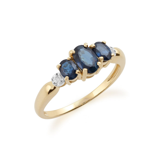 Sapphire and Diamond Trilogy Ring Image 2