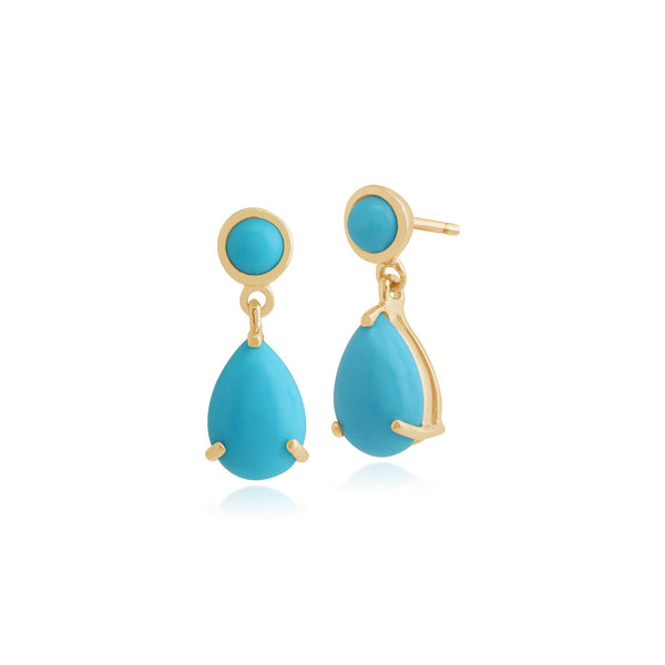 Classic Turquoise Drop Earrings Pendant Set Image 2