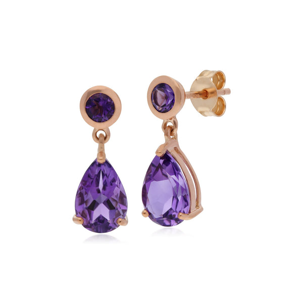 Classic Pear Amethyst Drop Earrings Image 2