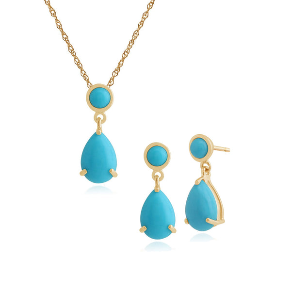 Classic Turquoise Drop Earrings Pendant Set Image 1