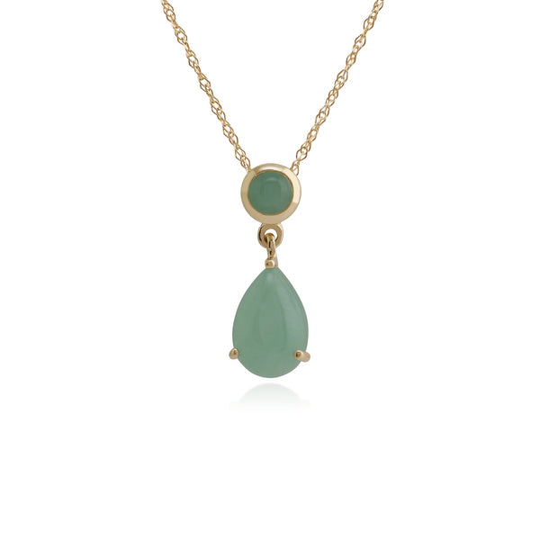 Classic Pear & Round Green Jade Pendant Image 1