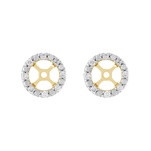 Classic Rose Quartz Stud Earrings & Diamond Round Ear Jacket Image 3