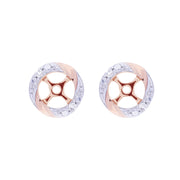 Classic Rose Quartz Stud Earrings & Diamond Round Earring Jacket Set Image 3