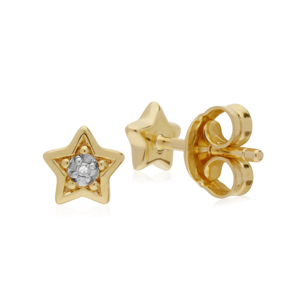 Classic Diamond Star Stud Earrings Image 2