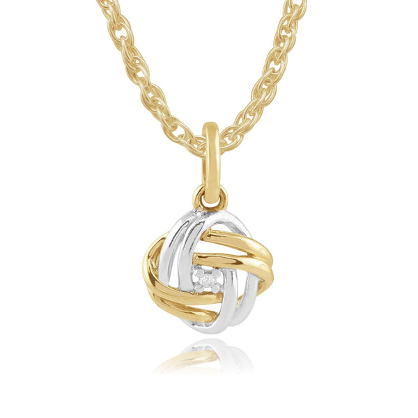 Classic Diamond Love Knot Pendant on Chain Image 1