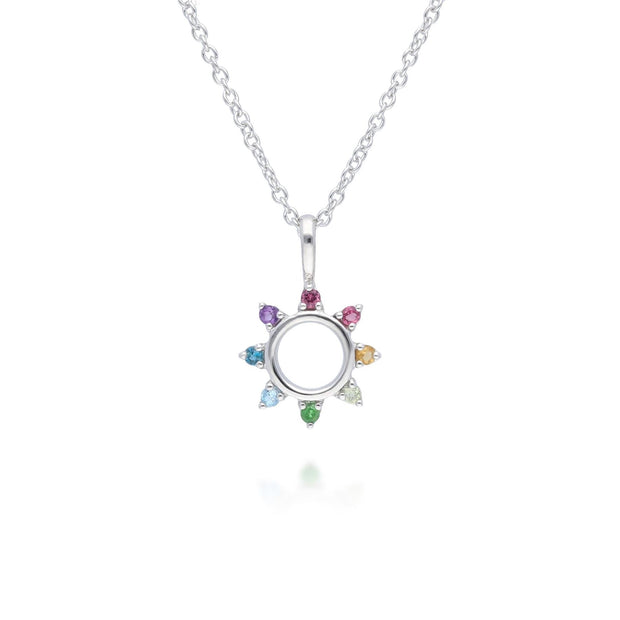 Rainbow Sunburst Necklace in 925 Sterling Silver