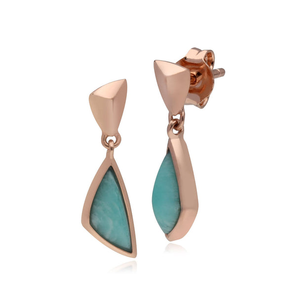Micro Statement Amazonite Drop Earrings in Rose Gold Plated 925 Sterling Silver