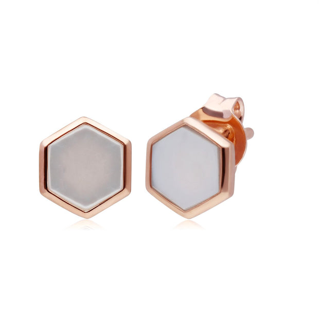 Micro Statement Mother of Pearl Stud Earrings in Rose Gold Plated 925 Sterling Silver