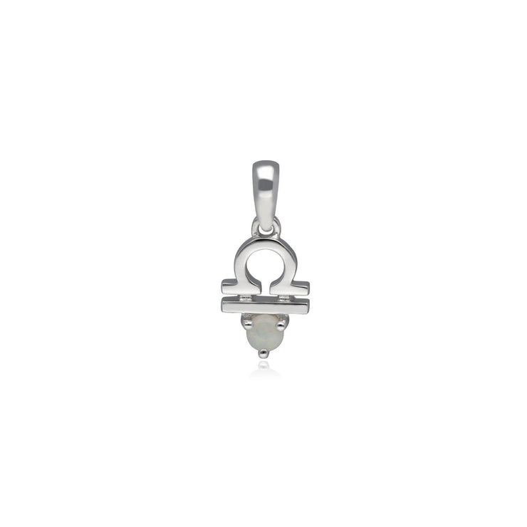 Opal Libra Zodiac Charm Necklace in 9ct White Gold