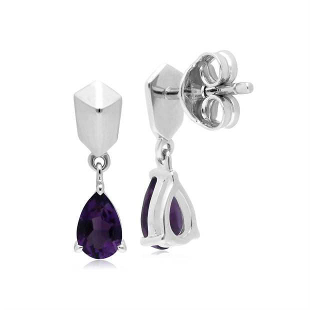 Micro Statement Amethyst Earrings in 925 Sterling Silver