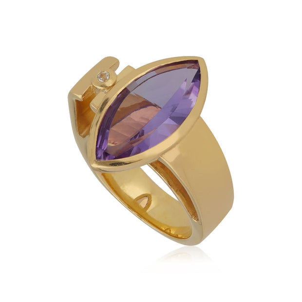 Kosmos Amethyst & White Topaz Cocktail Ring in Gold Plated Sterling Silver