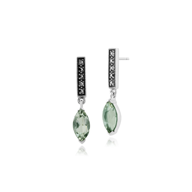 Art Deco Mint Green Quartz & Marcasite Bar Drop Earrings Image 1