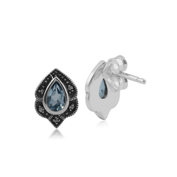 Art Nouveau Blue Topaz Leaf Stud Earrings Image 2