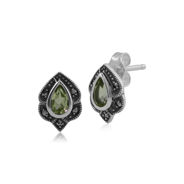 Art Nouveau Style Pear Peridot & Marcasite Leaf Stud Earrings in 925 Sterling Silver