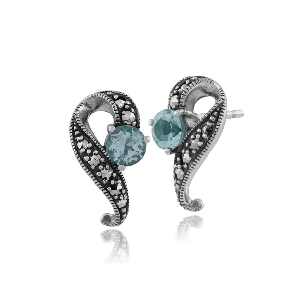 Art Nouveau Blue Topaz Swirl Stud Earrings Image 1