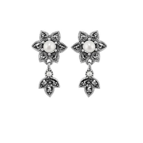 Floral Pearl & Marcasite Drop Earrings & Pendant Set Image 2