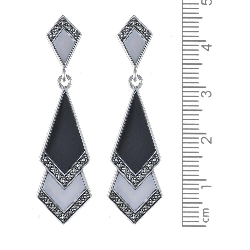 Art Deco Black Onyx, Mother of Pearl & Marcasite Fan Drop Earrings Image 2