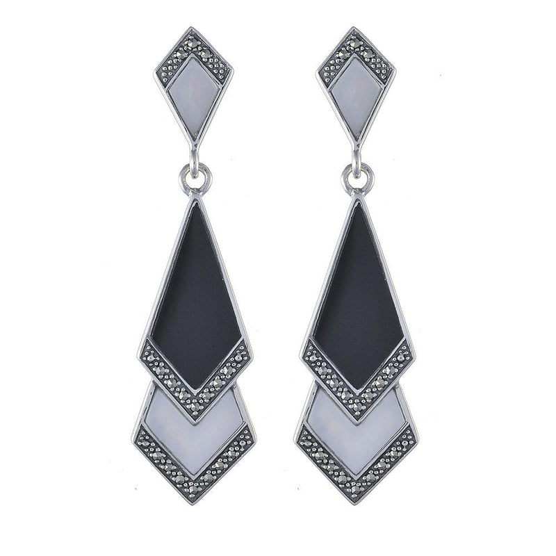 Art Deco Black Onyx, Mother of Pearl & Marcasite Fan Drop Earrings Image 1